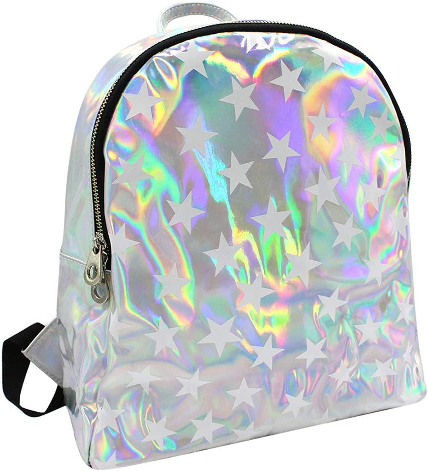 Aibearty Sliver Leather Backpack for Women Girls Travel School Casual Daypack