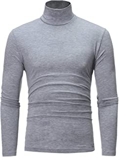 XWLY Men's Pullovers/Knitwear High Neck Solid Color Sweatshirt Slim Fit Business Casual All-Match Pullover Soft Comfortabl...