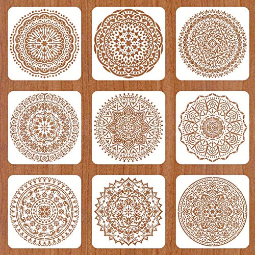 Mandala Reusable Stencil Set of 9 (8x8 inch) Painting Stencil, Laser Cut Painting Template for DIY Decor, Painting on Wood, Airbrush, Rocks and Walls Art (D)