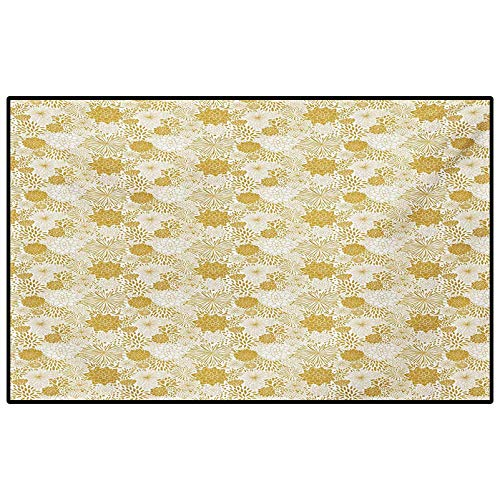 Floral Rugs for Inside House Abstract Floral Arrangement with Blossoming Petals and Leaves Hand Drawn Dots for Boys Girls Kids Baby College Dorm Living Room Yellow and White 5 x 8 Ft