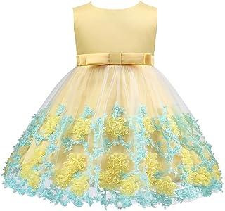 ガールズウェディングドレス 女の子のドレスボウプリンセスドレス子供服子供のクリスマスドレス子供ドレス 誕生日イブニングボールガウン (色 : 黄, サイズ : 70cm)