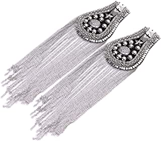 2 pcs Long Tassel Vintage Epaulet Handmade Chain Shoulder Brooch Unisex for Ceremony Performance (Silver)