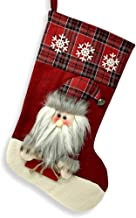 BANBERRY DESIGNS Rustic Christmas Stocking- Plush 3D Santa Holding Gift Wearing Plaid Fur Lined Hat with Jingle Bell-for F...