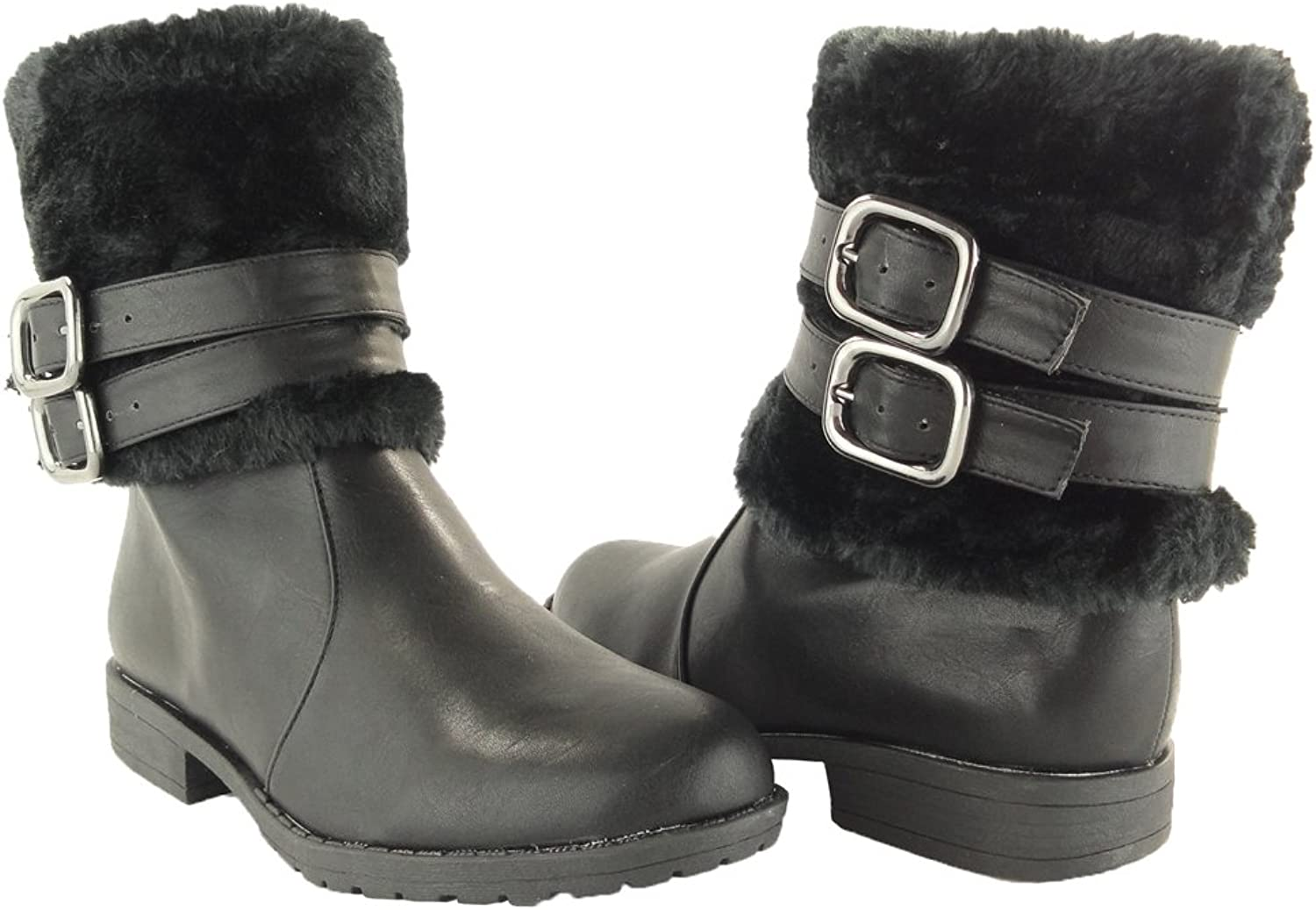 KSC Womens Ankle Boots Leather Faux Fur Cuff Ankle Wrap Buckles Black