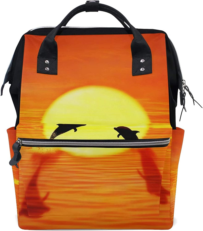 FAJRO Dolphin Sunset JumpTravel Backpack Canvas Handbag School Pack
