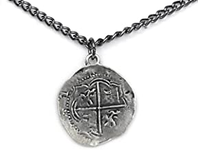 Antique Finished Pieces of Eight Coin Necklace Pewter Replica of Spanish Coin - Handcrafted in USA