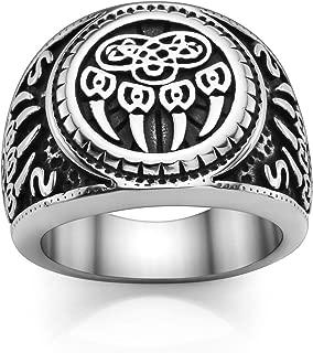 Men's Stainless Steel Viking Norse Celtic Knot Pagan Slavic Nordic Wolf Bear Paw Claw Veles Symbol Men Biker Signet Ring Size 9-13
