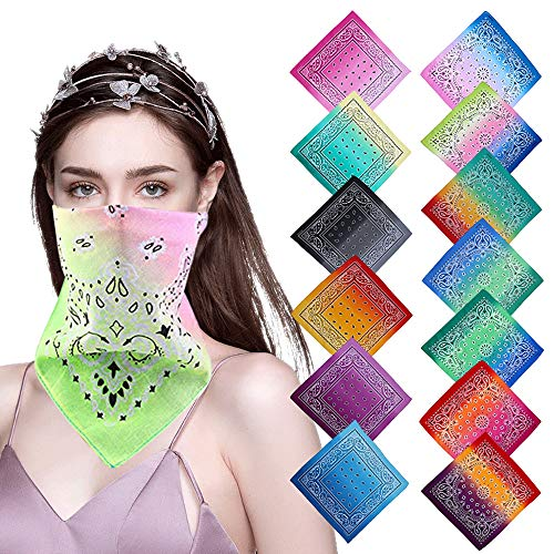 LLLCF 12 Pack Tie Dye Bandans Cotton Paisley Bandana Handkerchief Headbands Cowboy Tie Dye bandanas for Men and Women (Gradient-colors)