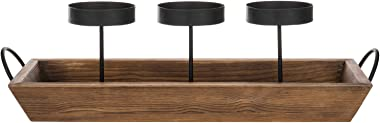 MyGift 3-Pillar Black Metal Candle Holder with Rustic Wood Tray and Handles, Tabletop/Mantel Centerpiece