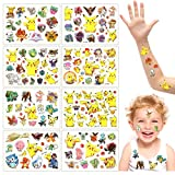 Tatuajes Temporales para Niños, 8 Hojas Tatuajes Temporales Pegatinas, Pegatinas Impermeables para Tatuajes de Pikachu, Regalos para Fiestas de Cumpleaños para Niños y Artículos para Fiestas (Pikachu)