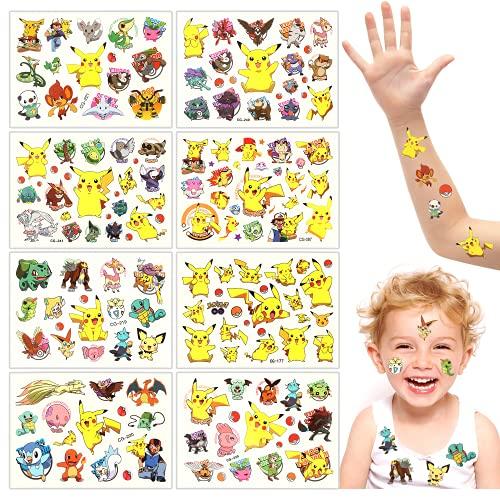 Tatouage Temporaire pour Enfant, Tatouages Temporaires, 8 Feuilles Enfants Tatouages Temporaires, Tatouage Enfant, Stickers de Tatouage pour Enfants Décorations de Fête d'Anniversaire Tattoos Enfants