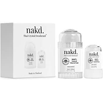 nakd. Thai Crystal Deodorant Stone – 2 Salt Deodorant Crystal Sticks, 4.25 oz. Regular + 2.5 oz. Travel Size – All Natural and Unscented Aluminum Free Deodorant for Women, Men, and Kids by Vasarii