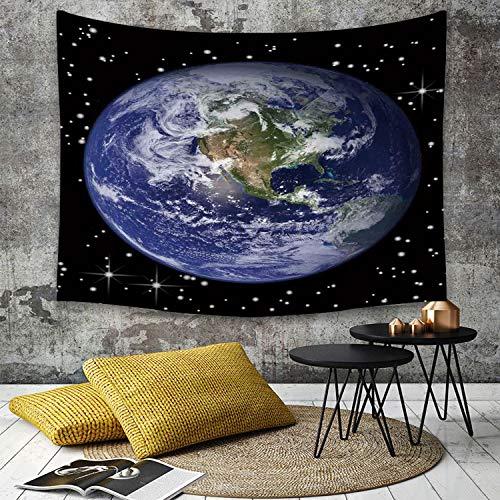 Tapisserie Murale Hippie Décoration Tenture Couverture Pique,La terre, les étoiles d'Amérique du Nord et la lune d'après un thème de l'espace extr,Nappe Serviette de Plage Yoga Indienne Tapestry