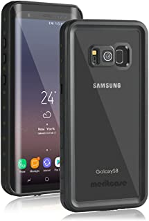Samsung Galaxy S8 Waterproof Case, Meritcase Galaxy S8 IP68 Waterproof Full Body Dustproof Shockproof Case with Kickstand Iris Recognition Touch ID for Swimming Surfing Diving 5.8 inch- Black/Clear