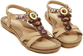 Start Women's Summer Bohemia Ful Bead Sandals Shoes 8 B(M) US Khaki