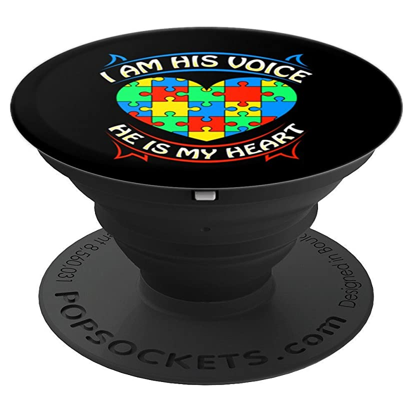BDAZ Autism Awareness I Am His Voice He Is My Heart - PopSockets Grip and Stand for Phones and Tablets