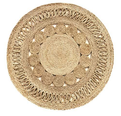 HAMID Alfombra Yute Alhambra Nazarí Color Natural Redonda - Alfombra 100% Fibra de Yute - Diseño Trenzado - Hecho a Mano - Alfombra de Fibra Natural (100x100cm)