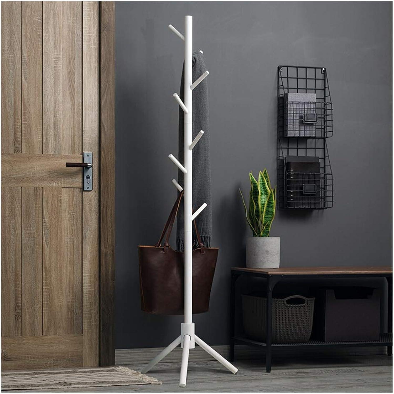 Qi_Hallway Furniture Solid Wood Coat Rack Hanger, Floor Bedroom Hanger greenical Clothes Rack Modern Multi-Layer Indoor Storage Rack Standing Coat Racks (color   White)