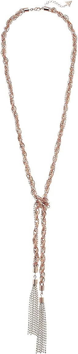 Tassel Knotted Necklace w/ Pearls