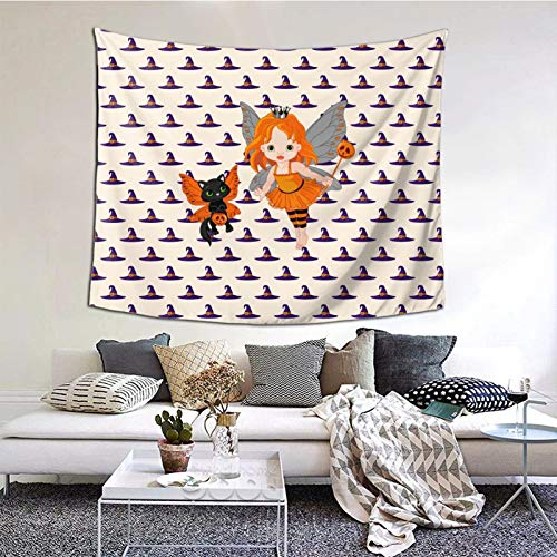 HARTG Halloween Cat Clipart 60×51 Inch Tapestry Wall Hanging, Wall Art Decoration for Living Room Bedroom Home Decor