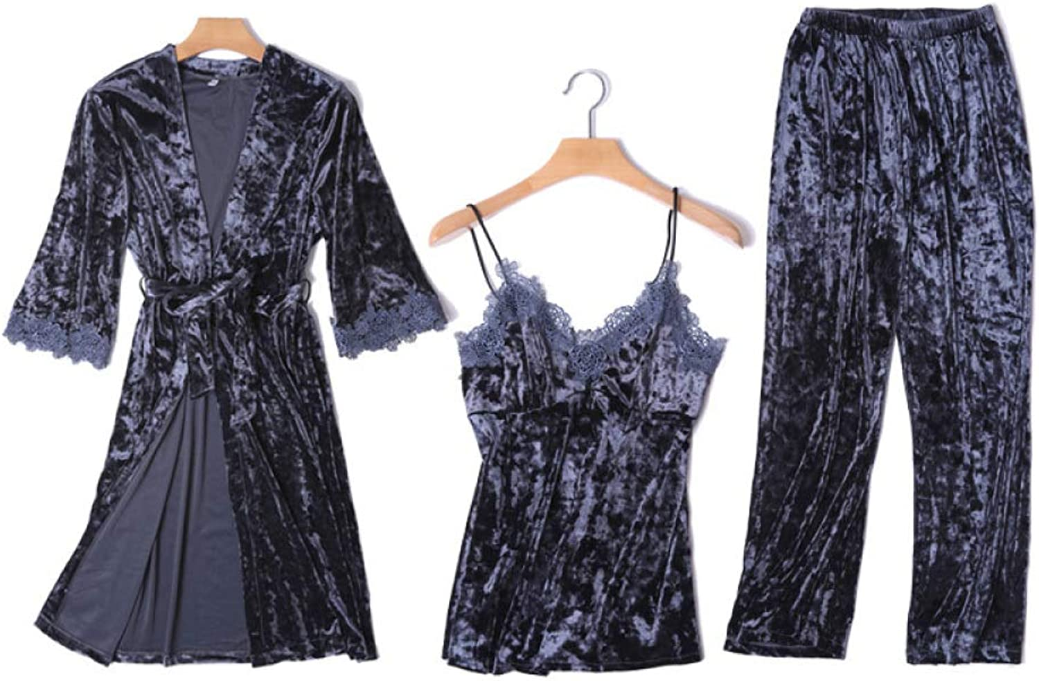 gold Velvet Pajamas Women, Autumn and Winter New Warmth, Sexy Lace Sling, Trousers, Comfortable Pajamas ThreePiece