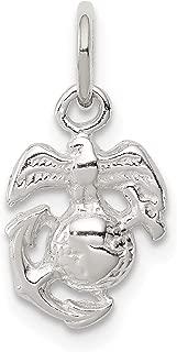 U.S. Marine Corps Emblem Charm In 925 Sterling Silver 14x9mm