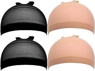 Wig cap, four piece nylon neutral high elastic hair net (skin color, black)