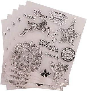 5 قطع من ROSENICE ختم شفاف للكريسماس الشفاف للزينة بنمط الرنة لعيد الميلاد DIY ورق ألبوم القصاصات