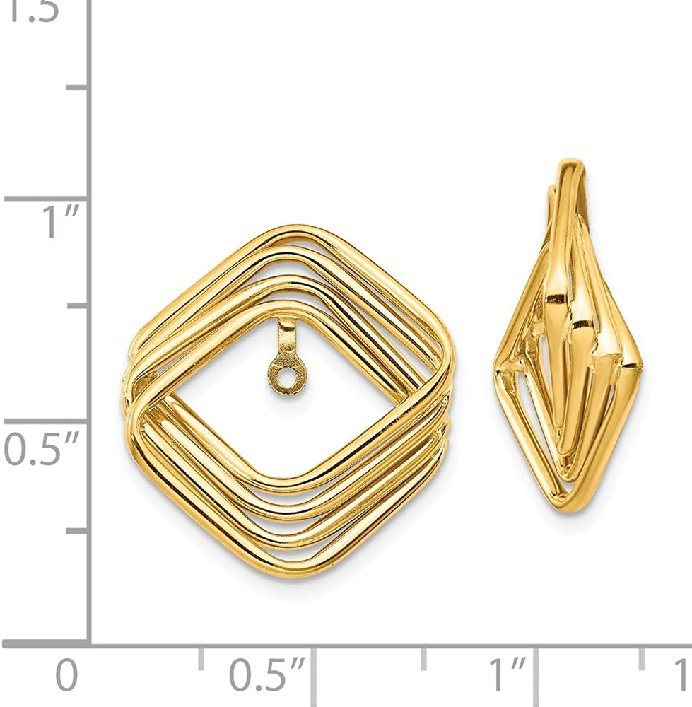 Solid 14k Yellow Gold Unique Earring Jackets - 20mm x 22mm