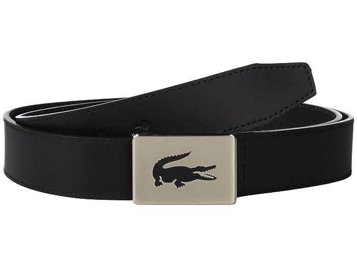 Lacoste Classic Big Croc Buckle Belt (Black) Men