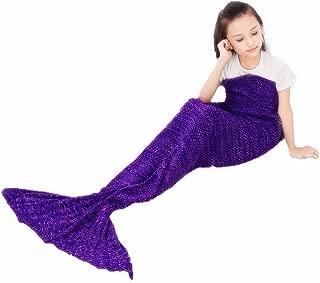 FYHAP Mermaid Blanket, Mermaid Tail Blanket Soft All Seasons for Kids,Sofa Quilt Living Room Super Sleeping Bags (Kids Purple)