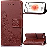 iPhone 5C Case,LEECOCO Embossed Lucky Clover Floral Design with Card Slots Magnetic Flip Stand Shockproof PU Leather Wallet Case for iPhone 5C with 1 x Stylus Pen Clover Brown
