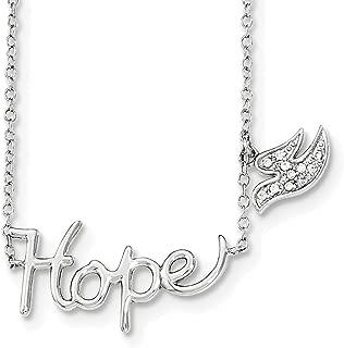 "Lex & Lu Sterling Silver Hope w/CZ Dove Charm Necklace 18"""