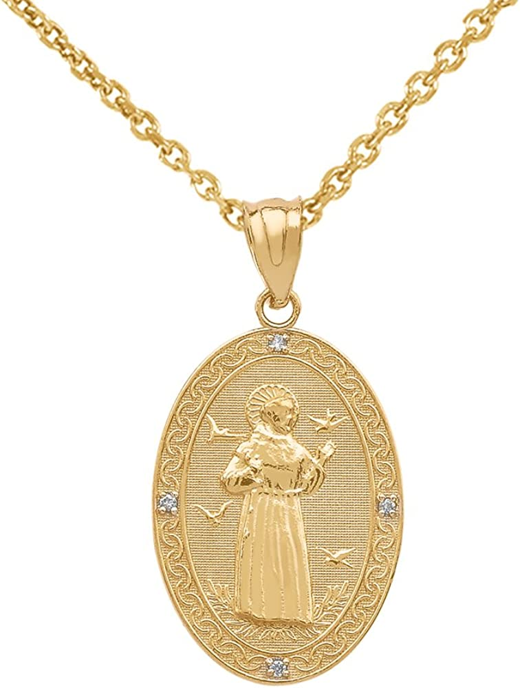 14k Gold NEW before selling ☆ Saint Francis of Assisi Popular standard Diamond Medal Charm Oval Neckla