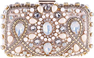 ETH Women's Luxury Party Dress Clutches Bags Wild Wedding Bridesmaid Tote Bag Rhinestone Crystal Chain Diagonal Shoulder Bag Evening Bag Permanent (Color : Pink)