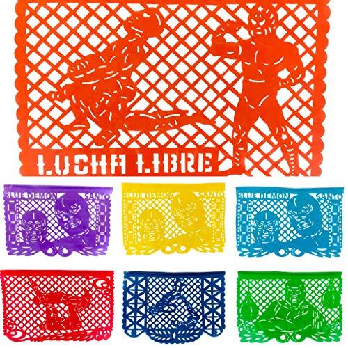 Guirnalda Papel Picado Mexicano en Plástico - Lucha Libre Diseños de los Luchadores Famosos Blue Demon y Santo!