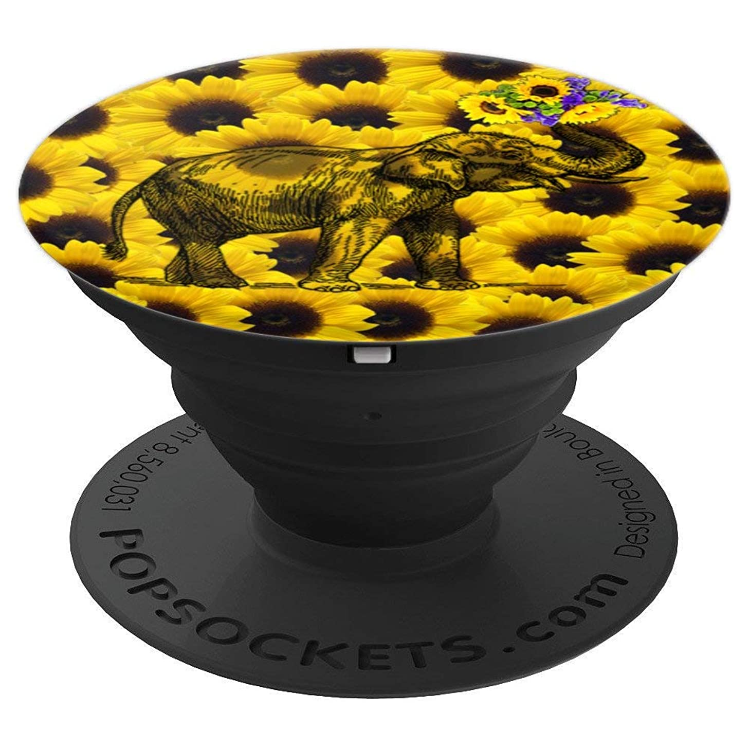 Cute Sunflower Elephant Gift for Girls Boy Animal Lover - PopSockets Grip and Stand for Phones and Tablets