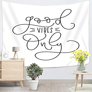 Sgvsdg Tapestry Good Vibes Only Inspirational Quote Modern Home Decoration Wall 50X60 Inches Can Be Hung in The Dormitory Living Room Bedroom
