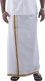 RAMRAJ Men's COTTON DHOTIS (Vetha- Gold jar- 3.8mtr)