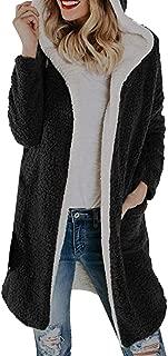 Women's Winter Warm Fleece Hooded with Pockets Open Front Cardigan Outwear Coat