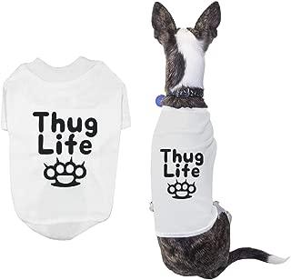 365 Printing Thug Life Pet Tshirt Small Dog White Shirts Cute Short Sleeve Tee for Puppies