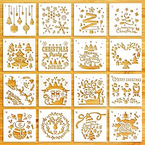Stencil Plástico Pintura Plantillas para Manualidades, Scrapbooking, Diario, Decoración16 Piezas Stencil Plástico Pintura Plantillas para Manualidades, Scrapbooking, Decoración