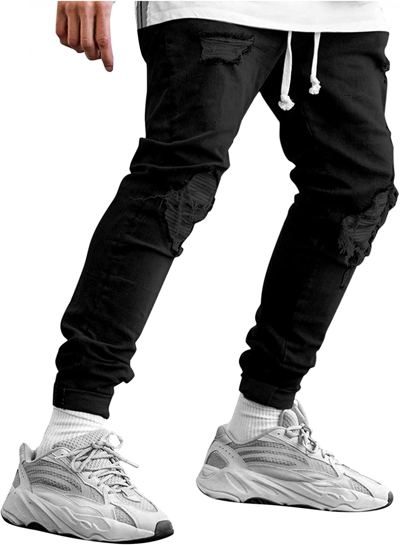 Pants for Men Ripped Jeans Slim Fit Fashion Casual Solid Denim Pencil Pants Hole Zipper Pocket Trousers