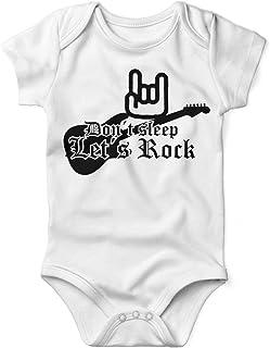 Mikalino Babybody mit Spruch für Jungen Mädchen Unisex Kurzarm Don´t Sleep - Let´s Rock   handbedruckt in Deutschland   Handmade with Love