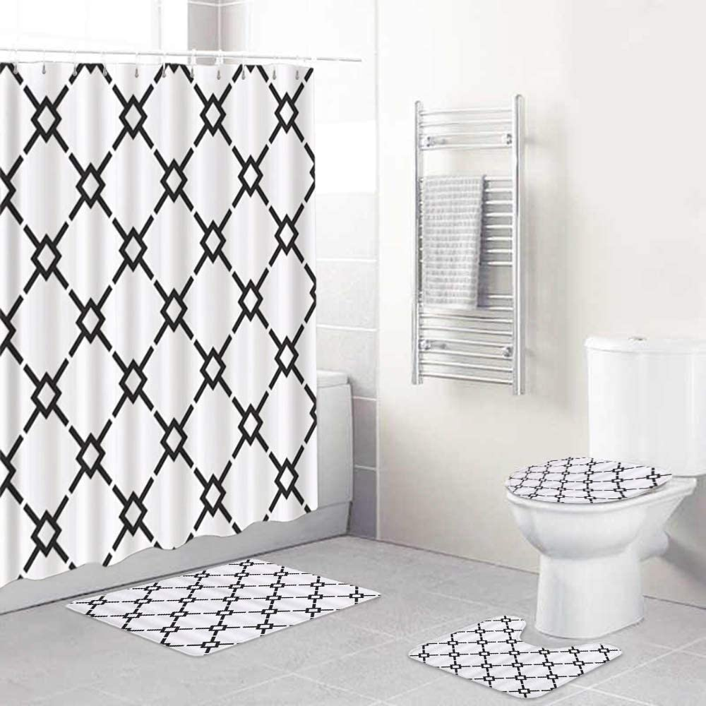 LONSANT 4Pcs Shower Curtain Max 66% OFF Sets with Rug Black S White Sale price Non-Slip