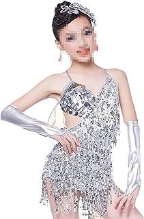 ドレスプリンセスコスチューム 子供女の子ラテンタッセルダンスドレスラテンタンゴサルサタッセルスカートラテン衣装 肌にやさしい通気性 (色 : 白, サイズ : 150cm)