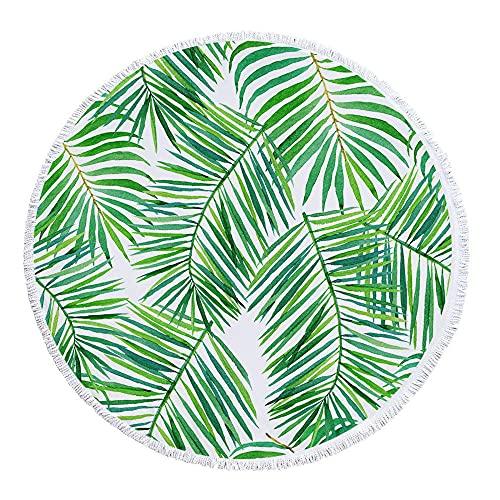 Diámetro Alrededor de 150 cm Color Floral Planta Pattern Pattern Simple Art Confort Toalla de Playa Redonda Transpirable-C3 Super Absorbente y Toallas de natación