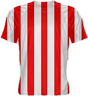 red and white referee shirt