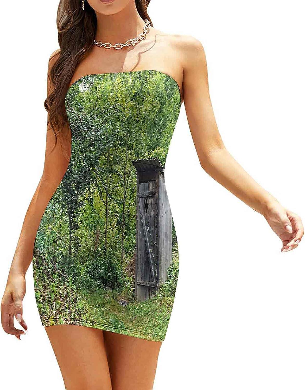 Women's Sleeveless Sexy Tube Top Dress Technology Galaxy Theme Dresses