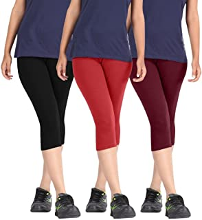 Rooliums Women's Cotton Capri Combo (Black, Red and Maroon, Free Size) - Pack of 3